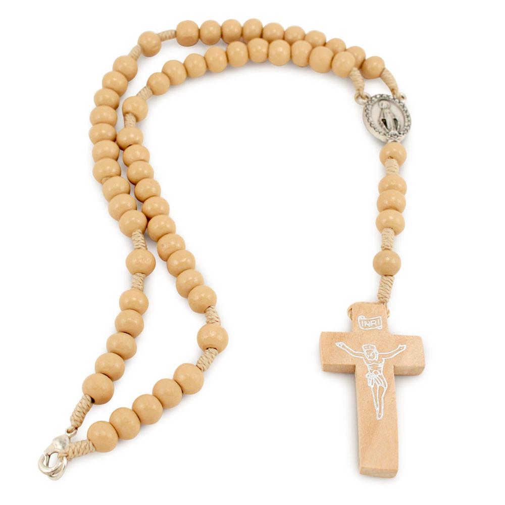 Brown Stretchable Wood Beaded Rosary Bracelet Cross ...  |Brown Rosaries