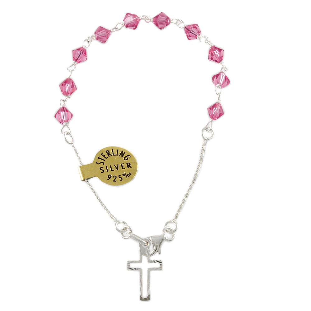 Swarovski Pink Crystal Beads Rosary Bracelet Sku 4 041p At Rosarymart