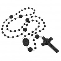 St. Benedict Black Plastic Beads Rosary