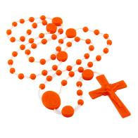 Miraculous Medal Orange Plastic Beads Rosary