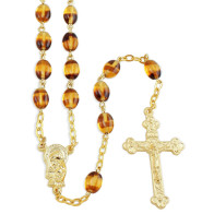 Amber Color Glass Beads Rosary