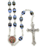 Blue Pressed Stone Beads Rosary