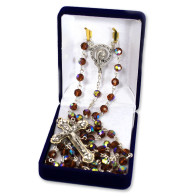 Rosary with Amber Color Multifaceted Crystal Beads