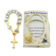 First Communion Blue Ladder Rosary Bracelet