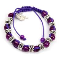 Amethyst Beads Rosary Bracelet on Wax String