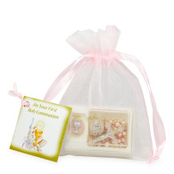 First Communion Set for Girls with Pink Pearl Beads