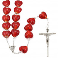 Venetian Glass Wall Rosary with Red Heart Shapped Beads