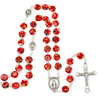 Rosary with Red Flat Murano Glass Beads