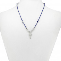 Blue String Rosary Necklace