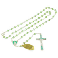 Rosary with Green Swarovski Crystal Beads Necklace