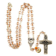 Pink Heart Beads Rosary Neckalce with The Original Pope Francis Cross by Vedele