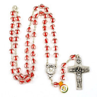 Red Heart Beads Rosary Neckalce with Pope Francis Center and Cross