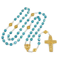 Aqua Blue Crystal Beads Rosary with Gold Finish Original Pope Francis Cross by Vedele