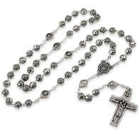 Rosebud Beads Rosary with The Original Pope Francis Cross by Vedele