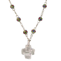 Rosary Necklace with Multicolored Swarovski Beads