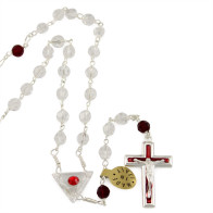 Clear Swarovski Crystal Beads Rosary with Red Our Father Beads