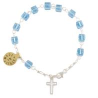 Light Blue Swarovski Square Crystal Beads Rosary Bracelet, Sterling Silver