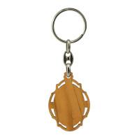 Olive Wood Keychain with Cherub Angel