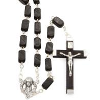 Black Rectangular Wooden Beads Rosary