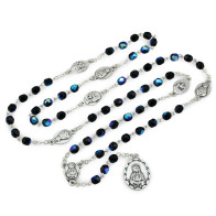 Seven Sorrows Chaplet with Black Crystal Shape Beads - Servite Rosary