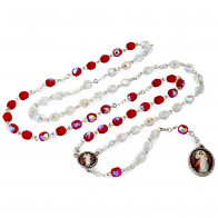 Red and Clear Beads Divine Mercy Rosary Chaplet