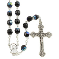 Black Crystal Rosary Beads with Lourdes