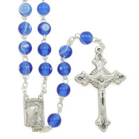 Our Lady of Lourdes Blue Imitation Silk Beads Rosary