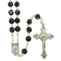 Black Swirl Rosary Beads with Lourdes