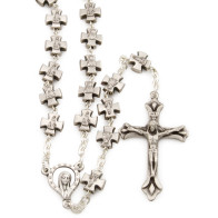 Cross Metal Beads Rosary with Madonna with Stars Center