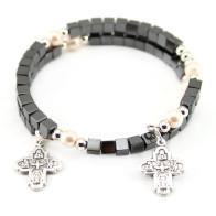 Hematite Square Beads Wrap Around Rosary Bracelet