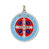 St. Benedict Light Blue Enameled Medal - 1 3/4 inches