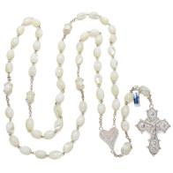 Mother of Pearl Beads Rosary with Sterling Silver Filigree Heart