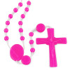 Hot Pink Plastic Beads Catholic Rosary (Nylon) - Our Lady of Lourdes