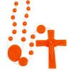 Lady of Lourdes Orange Plastic Beads Rosary