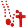 Red Plastic Rosary Beads St. Benedict Cross Lot