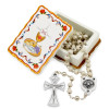 First Holy Communion Gift - White Wooden Beads Rosary and Wooden Keepsake Box, For Boys and Girls