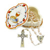 First Holy Communion Gift Set, Pearl Beads Rosary and Communion Box