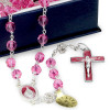 Rosary with Swarovski Pink Crystal Beads, Sterling Silver