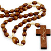 Rosary Oval Wooden Brown White wood Beads