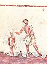 Catacombs of San Callisto: baptism in a 3rd-century painting